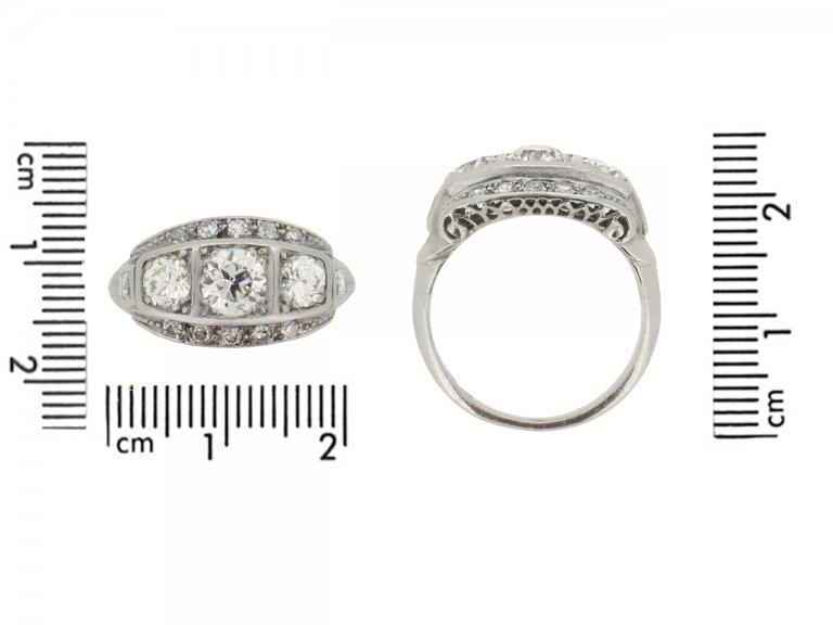 size view Diamond three stone cluster ring, circa 1930.