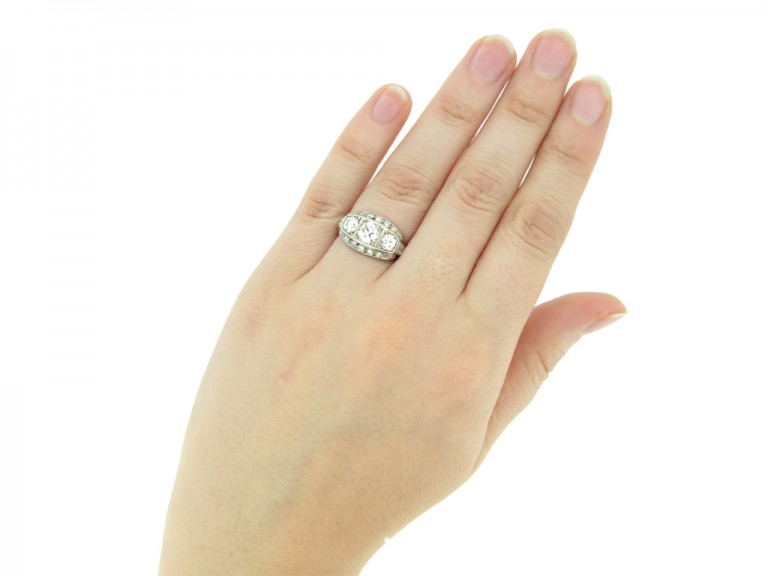 hand view Diamond three stone cluster ring, circa 1930.
