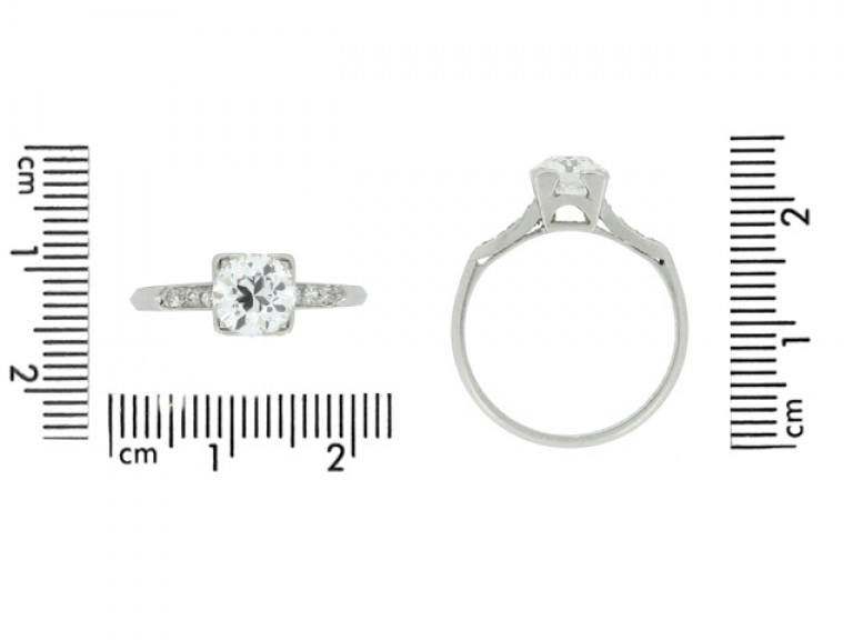 size view Solitaire diamond ring with diamond set shoulders