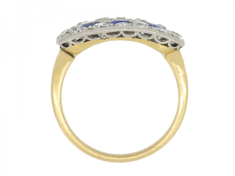 back view Antique sapphire and diamond triple cluster ring,