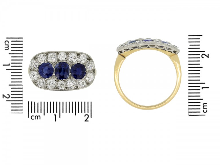 size view Antique sapphire and diamond triple cluster ring,