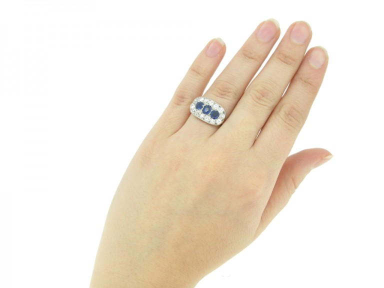 hand view Antique sapphire and diamond triple cluster ring,