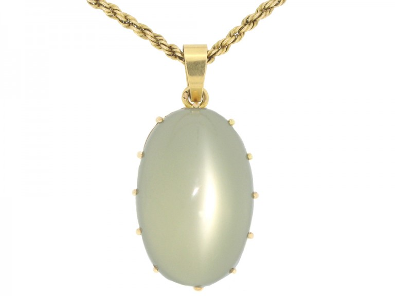 front view Solitaire moonstone pendant, French, circa 1970.