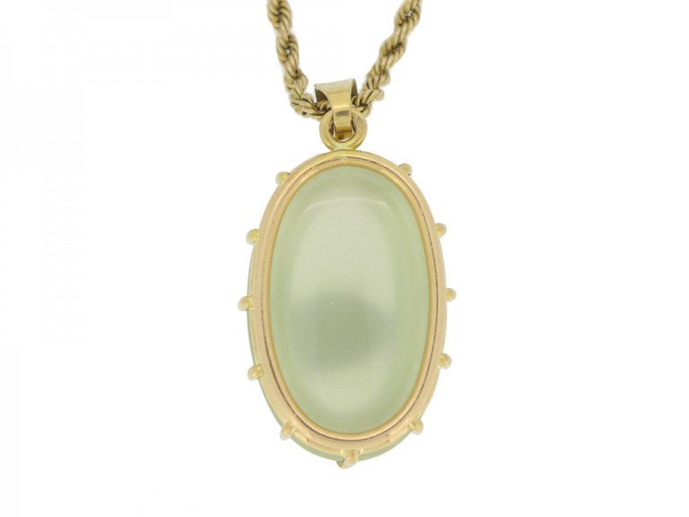 Solitaire moonstone pendant, French, circa 1970.