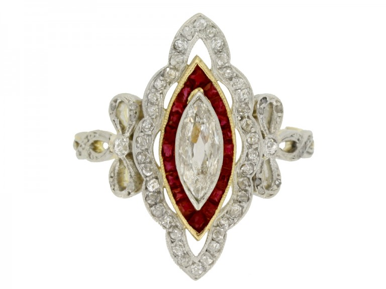 Belle Époque ruby and diamond cluster ring, French, circa 1905.