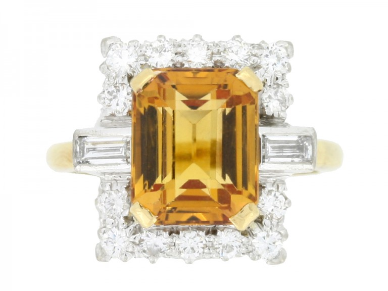 front view Topaz and diamond coronet cluster ring