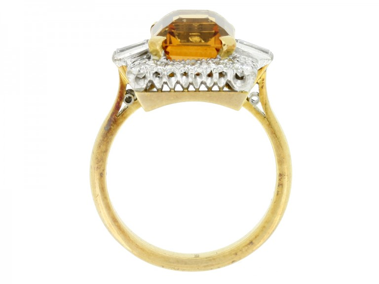 back view Topaz and diamond coronet cluster ring