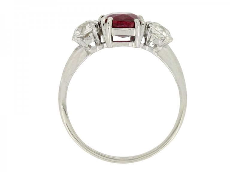 back view Ruby and diamond three stone ring, circa 1930.