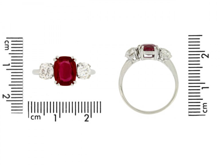 size view Ruby and diamond three stone ring, circa 1930.