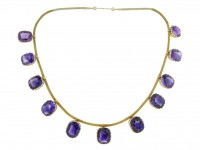 front view Antique amethyst necklace, circa 1890.