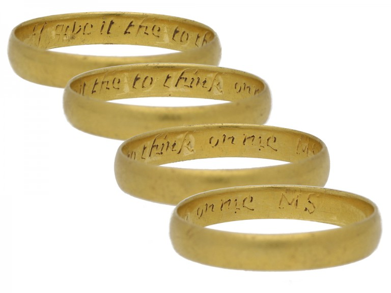 Gold posy ring, 'I give it thee to think on me', circa 18th century.