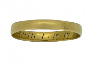 front view Gold posy ring, 'Ruth 1.16' 17', English, circa 18th   19th century.