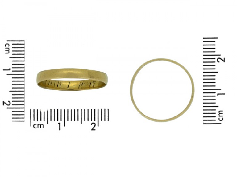 size view Gold posy ring, 'Ruth 1.16' 17', English, circa 18th   19th century.