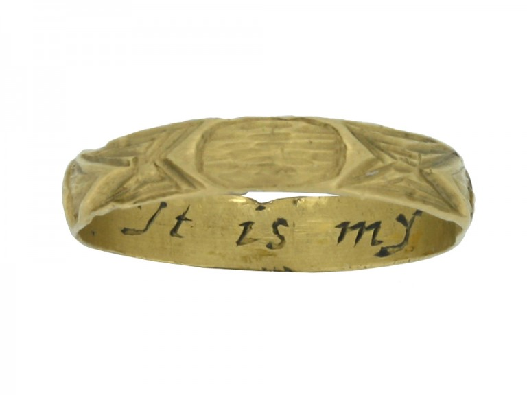 front view Gold posy ring with carved detailing, 'It is my love'