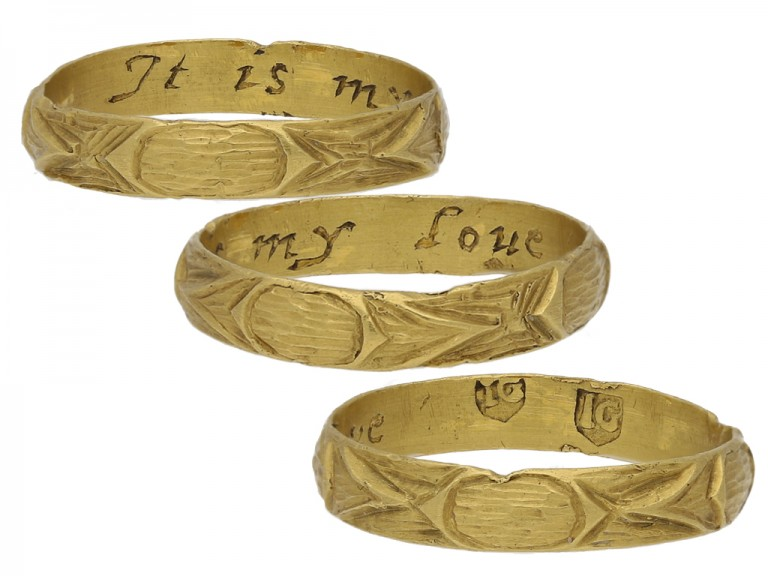 multi view Gold posy ring with carved detailing, 'It is my love'