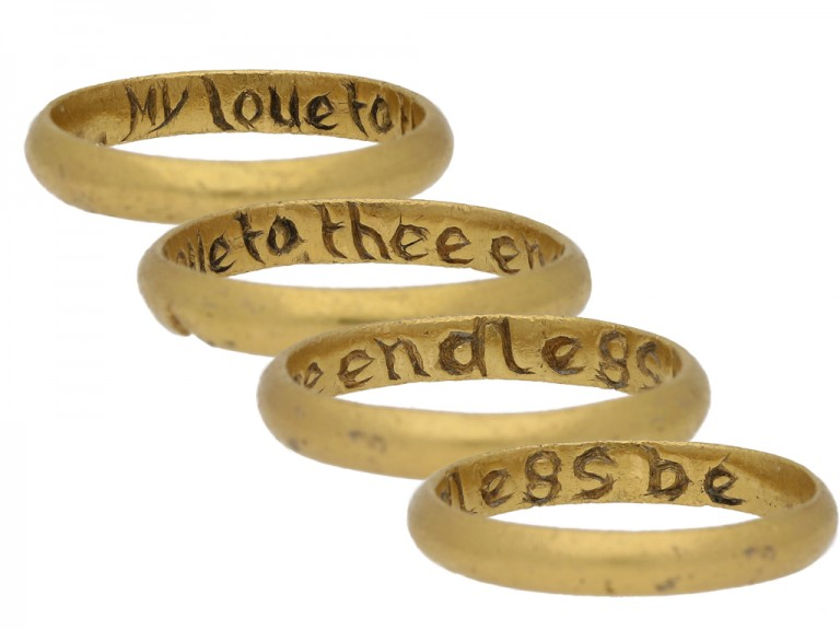 multi view Gold posy ring, 'My love to thee endless be'