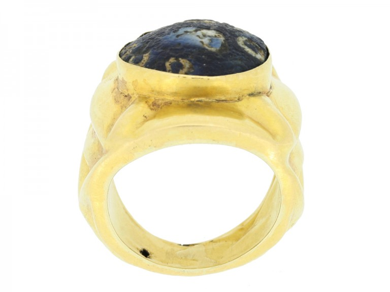 back view Early gold ring set with ancient mosaic glass, circa 18th century.