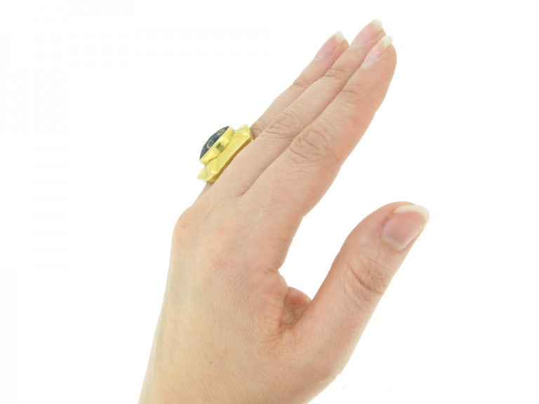 hand view Early gold ring set with ancient mosaic glass, circa 18th century.