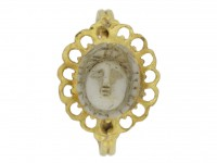 front view Ancient Roman gold ring with cameo,