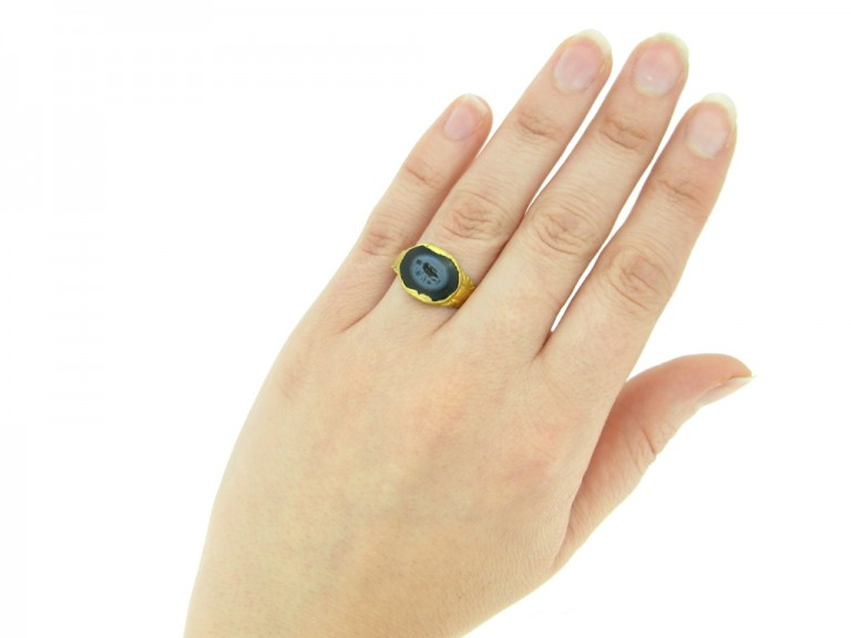 hand view Ancient Roman intaglio ring with goddess