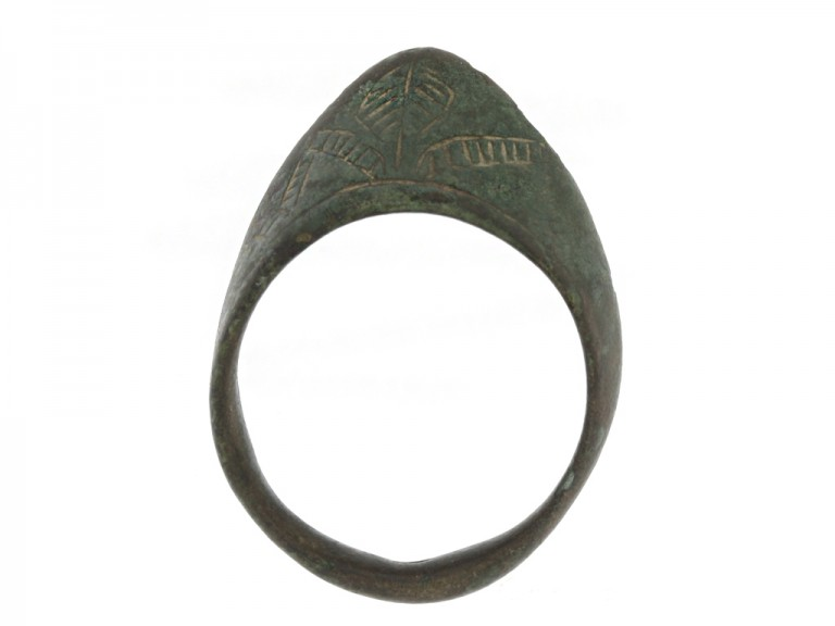 back view Medieval bronze archer's ring, circa 8th   12th century