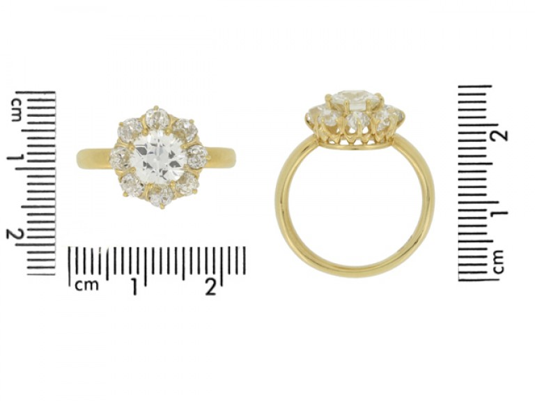 size view Antique diamond coronet cluster ring