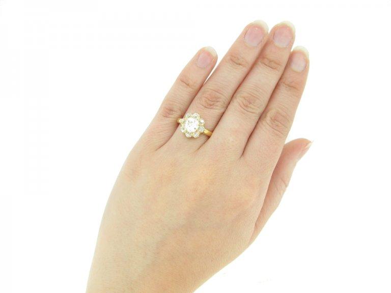 hand view Antique diamond coronet cluster ring