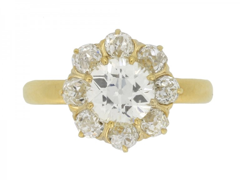 front view Antique diamond coronet cluster ring