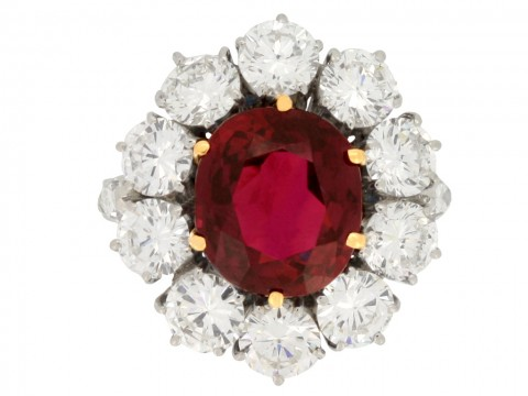 front view Vintage ruby and diamond coronet cluster ring