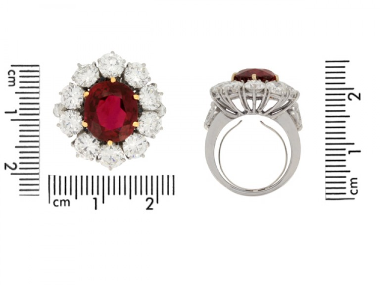 size veiw Vintage ruby and diamond coronet cluster ring