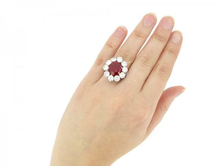hand view Vintage ruby and diamond coronet cluster ring