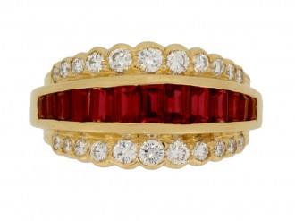 front view Oscar Heyman Brothers vintage ruby and diamond ring