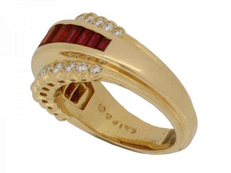 mark view Oscar Heyman Brothers vintage ruby and diamond ring
