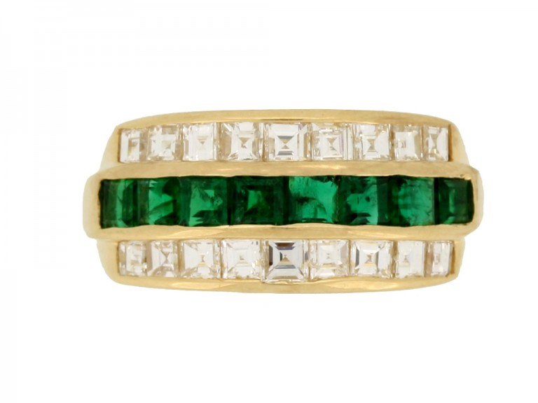 front view Oscar Heyman Brothers vintage emerald and diamond ring