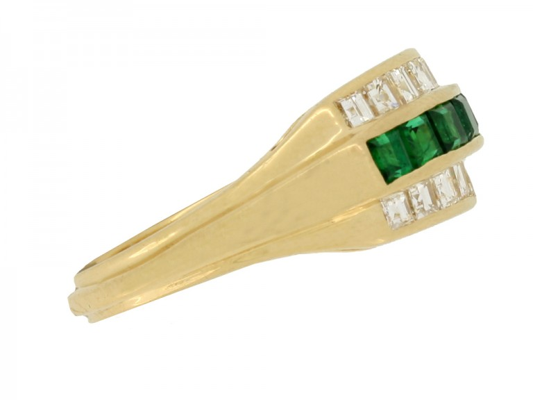 side view Oscar Heyman Brothers vintage emerald and diamond ring
