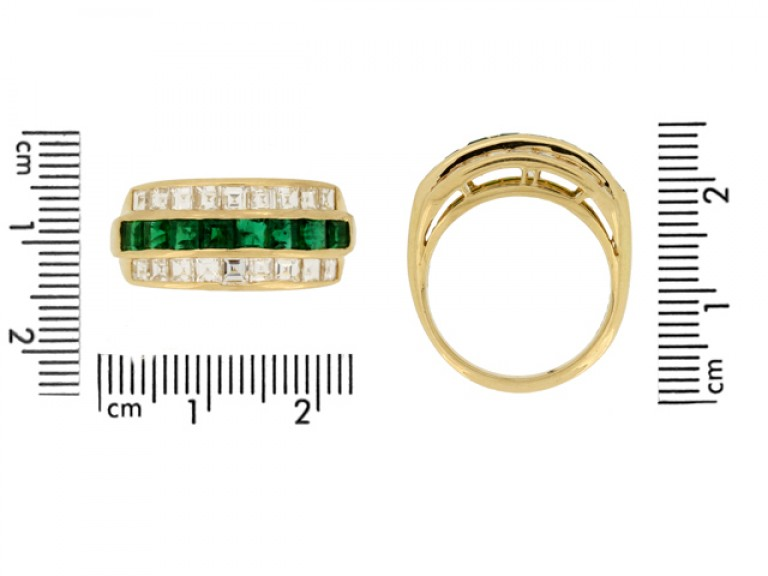 size view Oscar Heyman Brothers vintage emerald and diamond ring