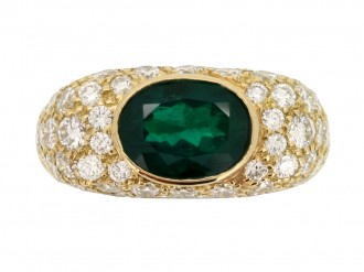 front view Oscar Heyman Brothers Colombian emerald and diamond cluster ring
