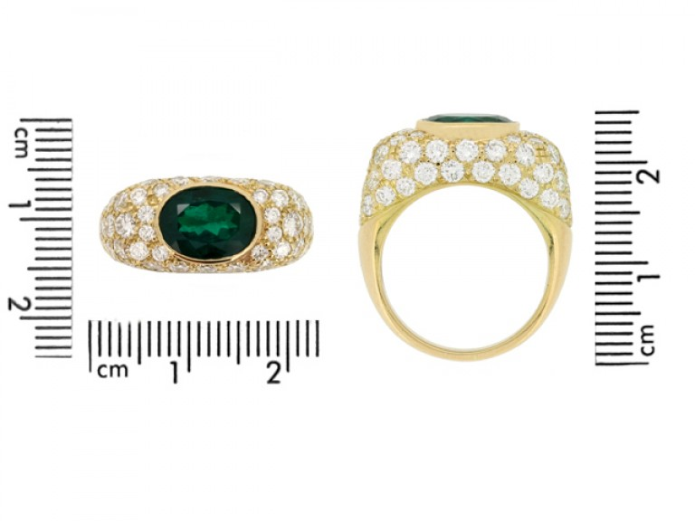 size view Oscar Heyman Brothers Colombian emerald and diamond cluster ring