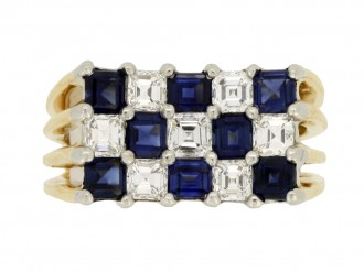 front vierw Oscar Heyman Brothers vintage sapphire and diamond ring