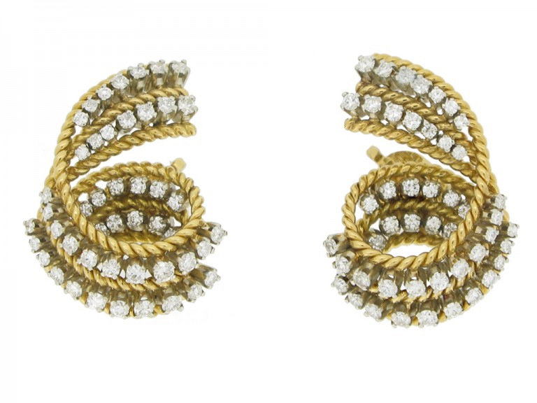 front view Tiffany & Co. vintage diamond clip earrings, circa 1960s.