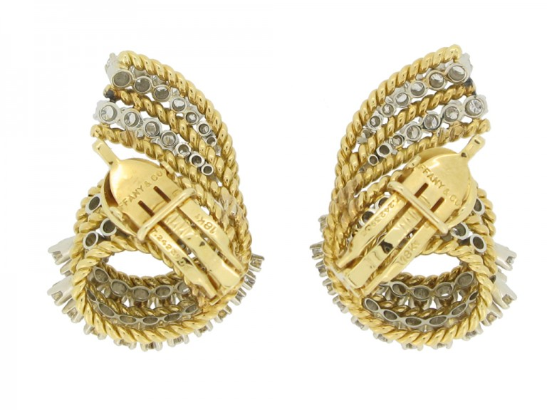 Tiffany & Co. vintage diamond clip earrings, circa 1960s.