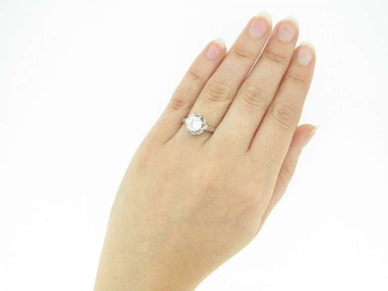 hand view Solitaire diamond ring, French, circa 1935.
