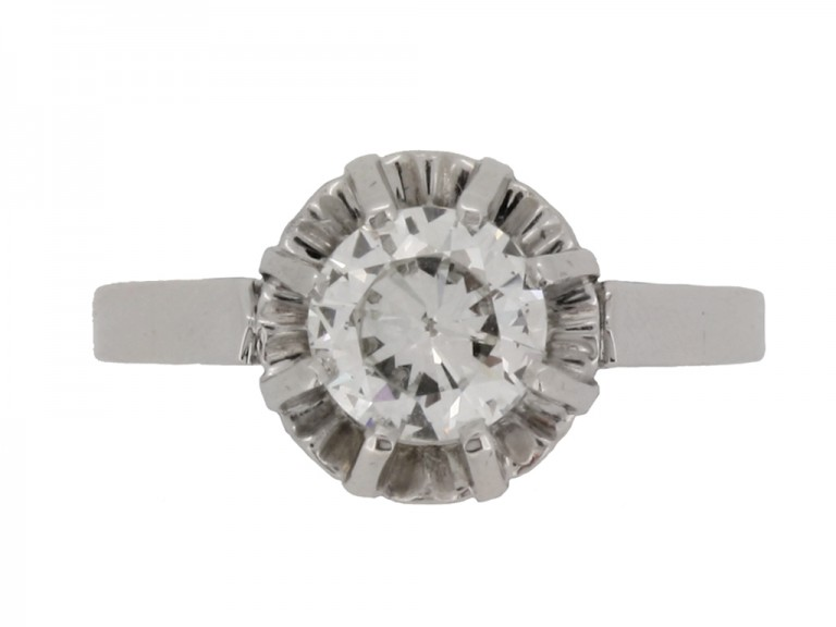 front view Solitaire diamond ring, French, circa 1935.