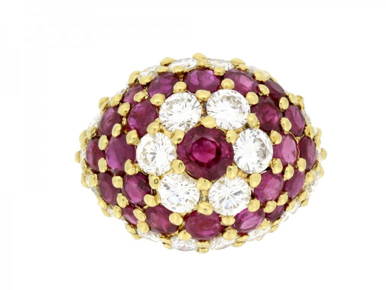 front view antique ruby diamond by fred ring berganza hatton garden