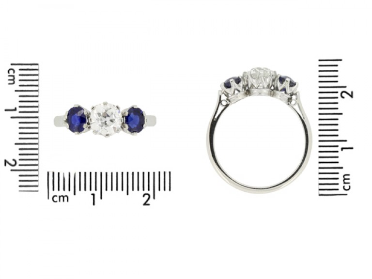 size view Diamond and sapphire three stone ring