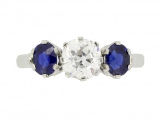 front view Diamond and sapphire three stone ring