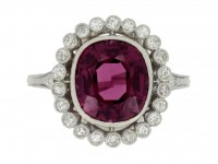 front view Edwardian natural purple spinel and diamond coronet cluster ring