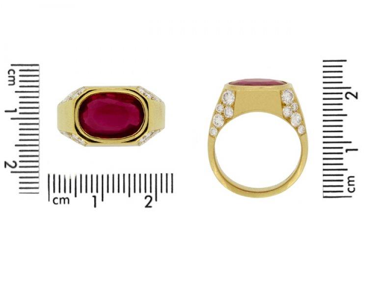 size view Bulgari Burmese ruby and diamond ring, circa 1970s. berganza hatton garden