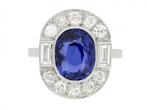 front view Burmese sapphire and diamond coronet cluster ring