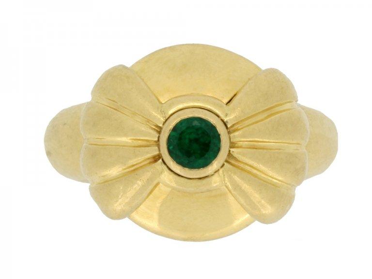 Boucheron emerald and diamond ring, French, circa 1970s.